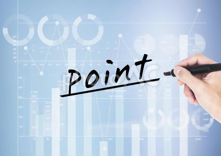 グラフとポイントの文字の写真